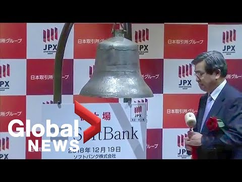 Japan's SoftBank Group celebrates its listing on Tokyo Stock Exchange