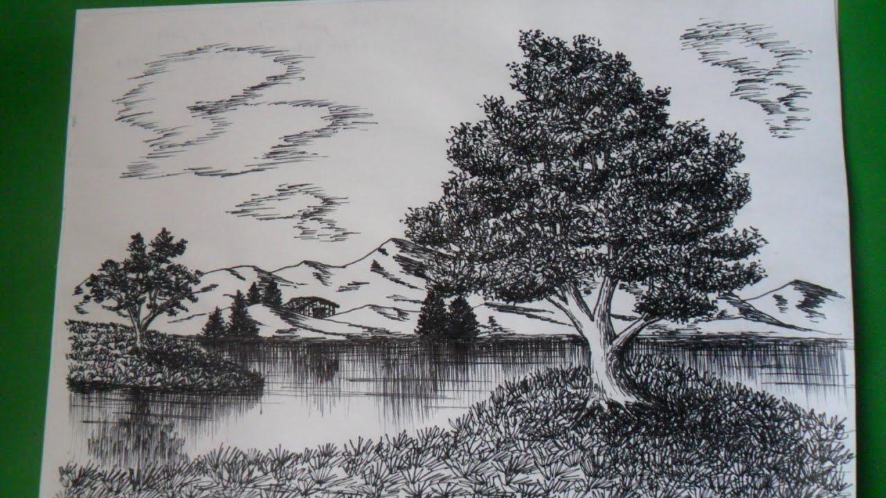Dibujo De Lineas Paisaje: Como Dibujar Un Paisaje Natural A Tinta, A Base De