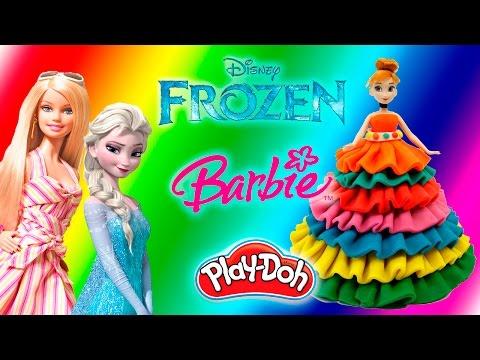Принцессы Диснея/Куклы Холодное сердце и Барби / Платье из пластилина Плей До