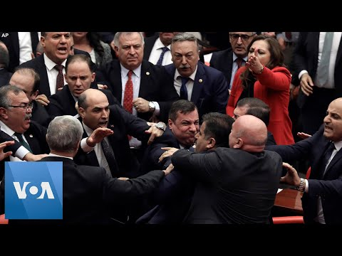 Brawl Breaks Out in Turkey's Parliament Over Military in Syria