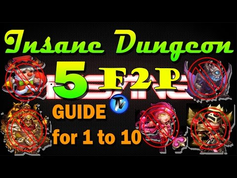 Castle Clash - Insane Dungeon 5 GUIDE [All 1 To 10] [F2P] Without Ghoulem,sk,val,gf,mino,sm,michael
