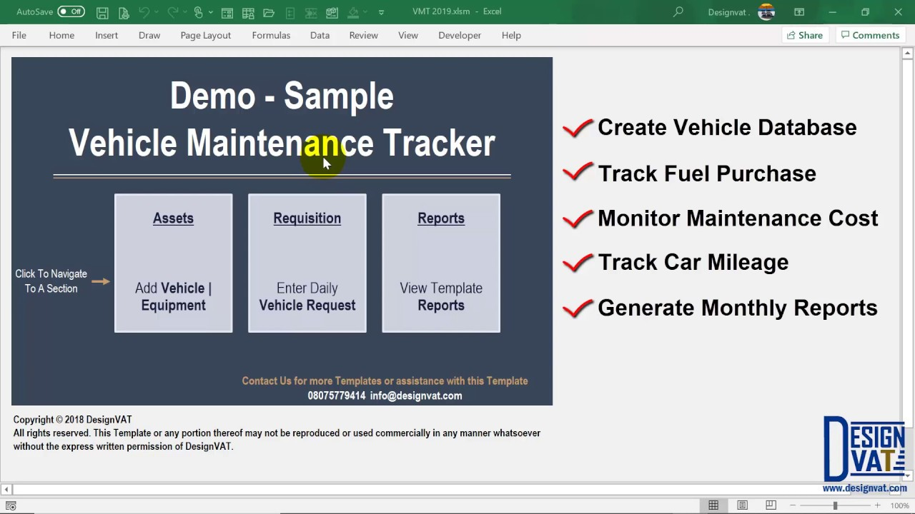 Fleet Management Spreadsheet Vehicle Renewal Tracking Excel Template Part 1 Youtube