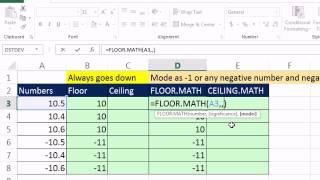 Excel 2013 Preview #3: FLOOR.MATH & CEILING.MATH: Round To Significance Excel Magic Trick 951