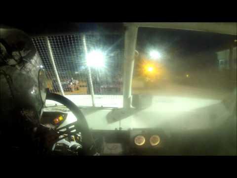 11 year old jordan fowler golden isles speedway heat race in car 9/27/14
