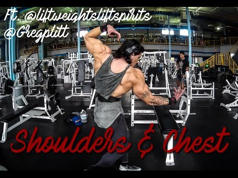 Shoulders and Chest 5 weeks out ft. @liftweightsliftspirits and @Gregplitt