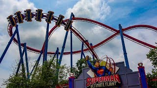 Superman Ultimate Flight Roller Coaster! Front Seat POV! Six Flags Over Georgia 4K 60FPS