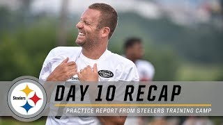 Sideline Report, Coach Tomlin & More from Day 10 | Pittsburgh Steelers Training Camp