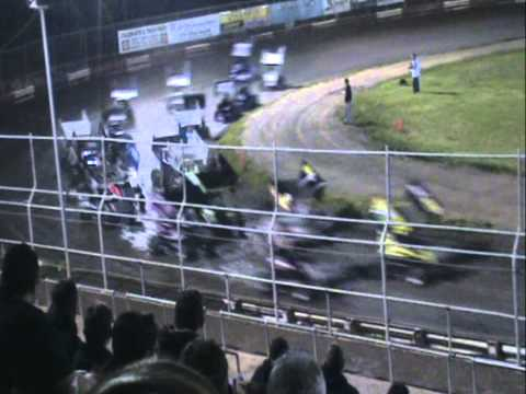 MICRO SPRINT CAR RACING FLIP CRASH at Plaza Park Raceway
