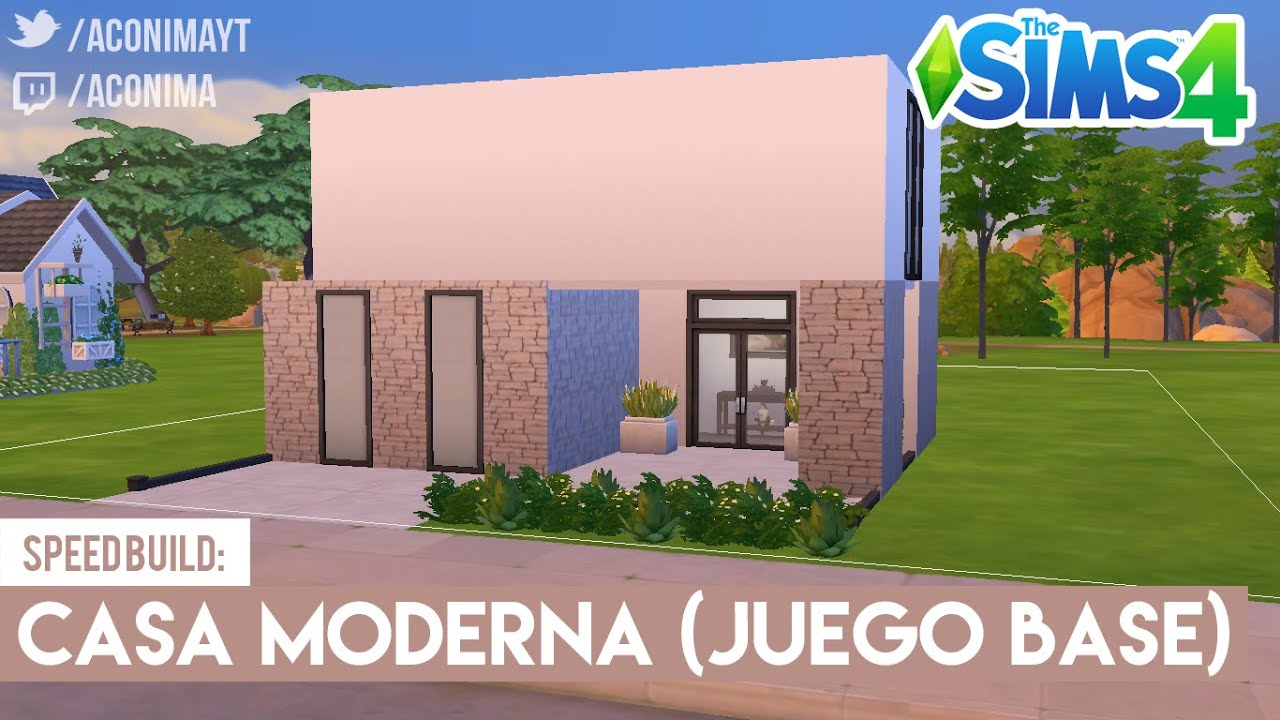 Sims 4 speed build casa moderna juego base youtube for Casa moderna los sims 3