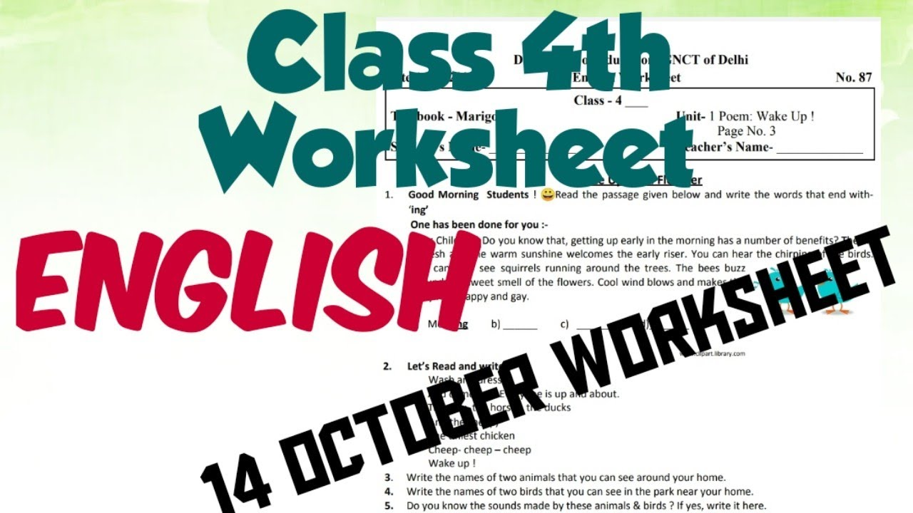 Class 4th English Worksheet 87   English Worksheet   Poem Wake Up   14  October Worksheet Solution   - YouTube [ 720 x 1280 Pixel ]