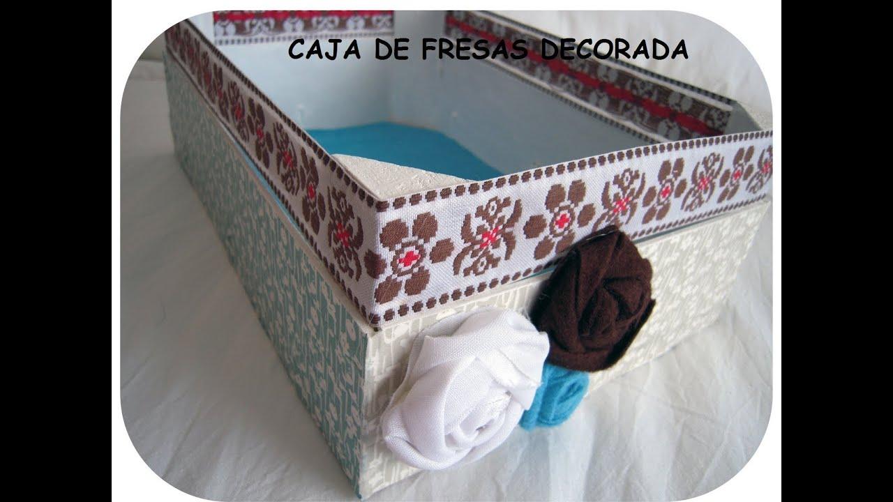Manualidad caja de fresas decorada youtube - Como decorar cajas de madera de fruta ...