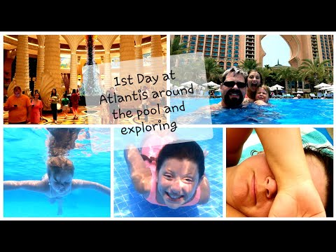 First day at Atlantis on the Palm Dubai. In the pool