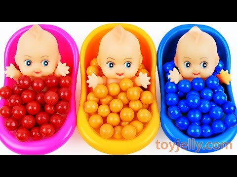 Thumbnail: Learn Colors Bubble Gum Baby Doll Bath Time Surprise Eggs Nursery Rhymes Finger Family Song For Kids