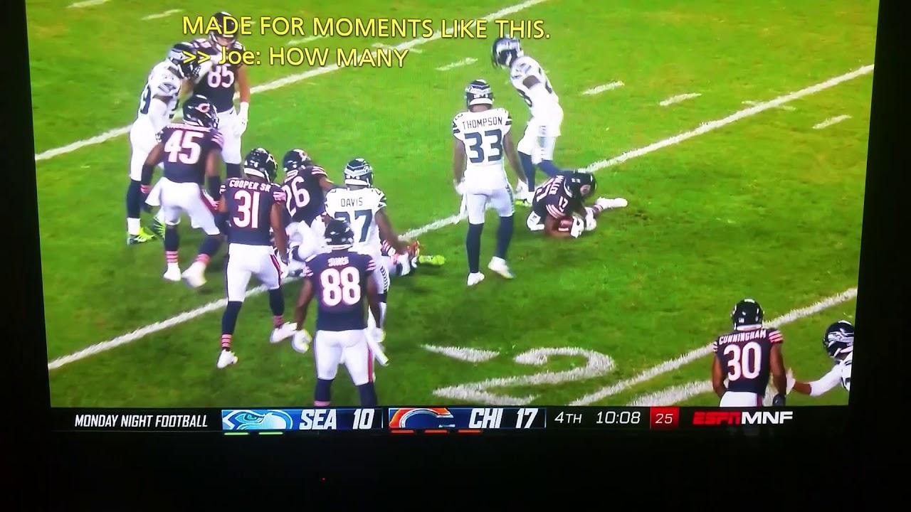 Michael Dickerson #4 drop kick kickoff Seattle/Bears
