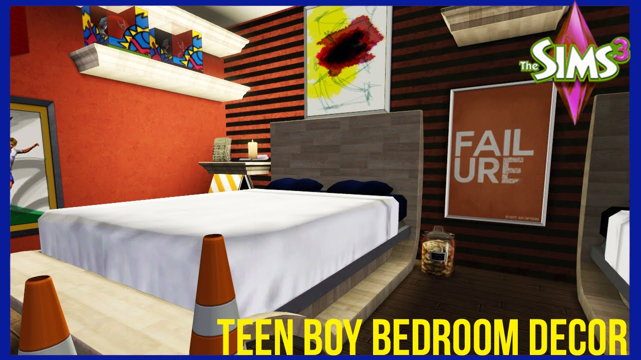 The sims 3 teen boy bedroom decor youtube for Bedroom ideas for 3 beds