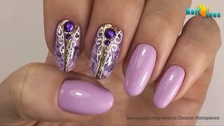 ✦ГЕЛЬ ЛАК дизайн с матовой ФОЛЬГОЙ  пошагово✦ Нежный маникюр со стразами✦Роспись ногтей гель лаками