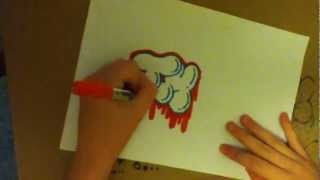 How to draw a graffiti/graff throw up/throw/throwie/bubble writing