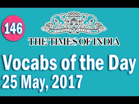 The Times of India Vocabulary (25 May, 2017) - Learn 10 New Words with Tricks | Day-146