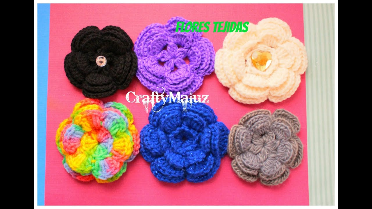 TUTORIAL:♥ CROCHET: FLOR TEJIDA (PASO A PASO) CRAFTYMALUZ - YouTube