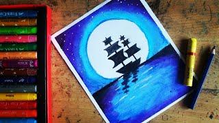 Moonlight Boat landscape scenery oil pastel drawing for beginners