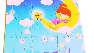 Пазлы для детей Собираем пазл Девочка на луне Видео для детей и малышей