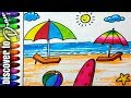 how to draw beach for kids scenery drawing for children | draw sunset at ocean discovertodraw