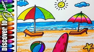 Day at the beach drawing videos day at the beach drawing clips how to draw beach for kids scenery drawing for children draw sunset at ocean discovertodraw altavistaventures Gallery
