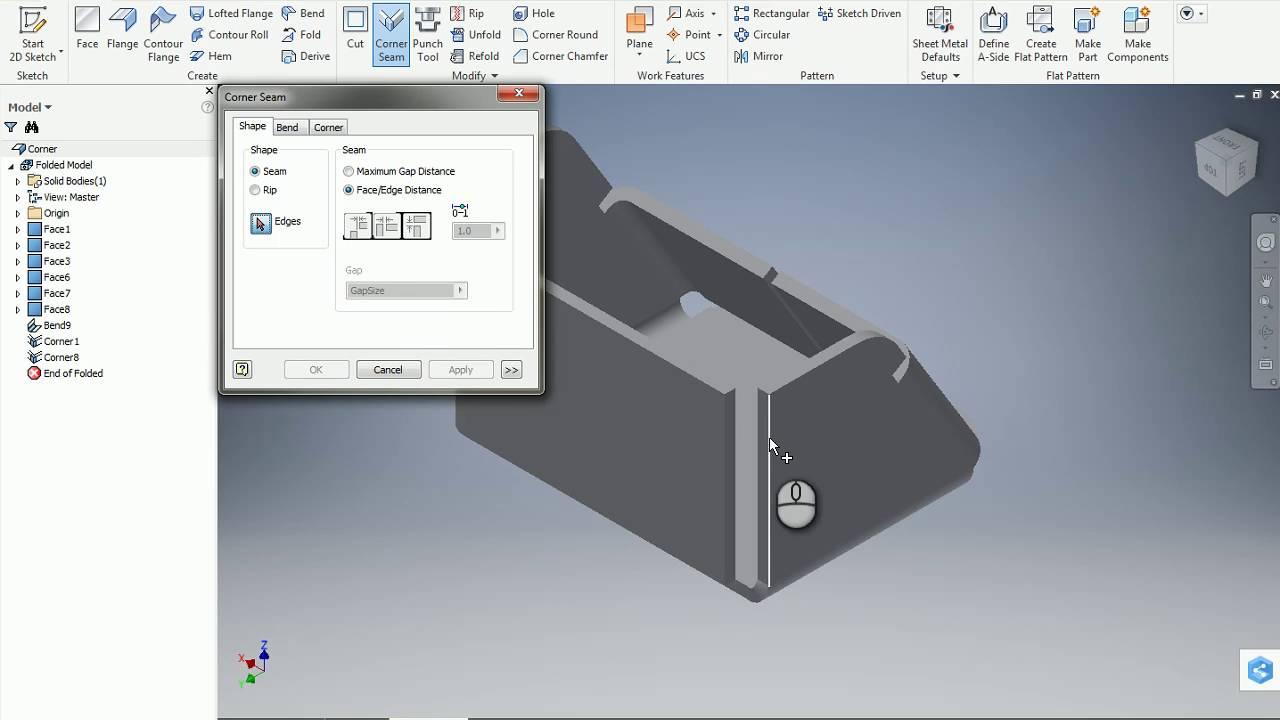 Inventor Sheet Metal Corner Seam Tool Youtube