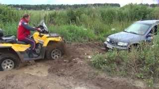 Кто кого?  Квадроцикл CAN-AM спасает корейский джип из грязи лебедкой. Фролов О.