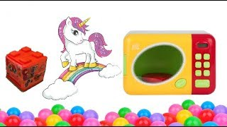 Learn Colors Toy Microwave Surprise Cube Box Cute Unicorn | Mango Funny Kids |