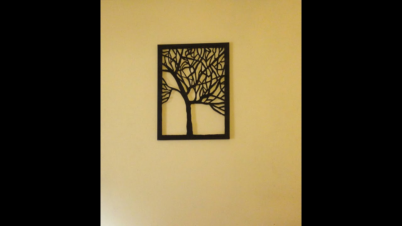 Amazing DIY Canvas Tree Cut Out Wall Art Home Decor Idea YouTube