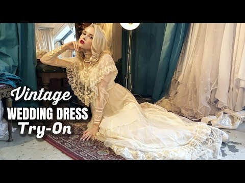 TRYING ON VINTAGE WEDDING DRESSES
