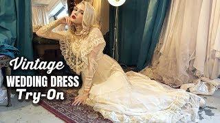 TRYING ON VINTAGE WEDDING DRESSES