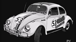 How to draw a car Volkswagen Beetle /車のイラスト