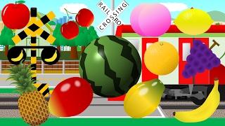 変な音のするフルーツ踏切アニメ | Learn names of Fruits for Kids thumbnail