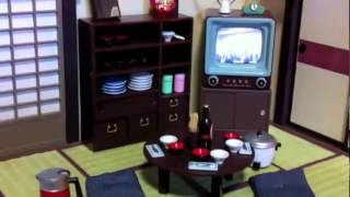 Living room diorama with working TV set, Japanese Showa era.