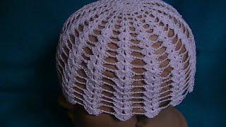 Вязание летней шапочки крючком.(Уроки для начинающих по вязанию крючком. Как связать летнюю шапочку.Lessons for beginners crochet. How to tie a summer hat., 2015-07-24T02:02:27.000Z)
