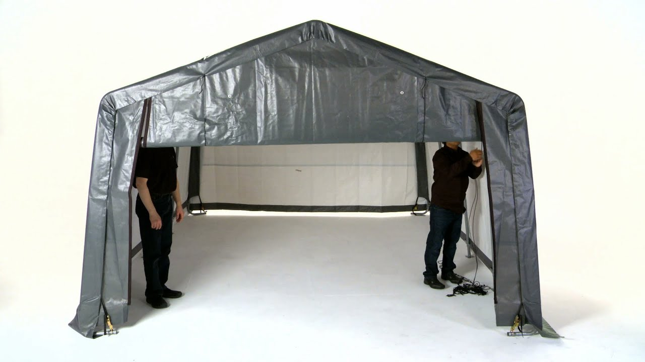 Shelterlogic Pull Eaze Roll Up Door Kit Youtube