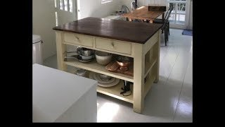 Kitchen Island Build #2 - Distressed Paint Finish and Dark Hemlock Top