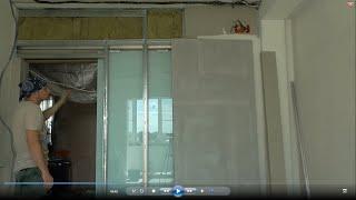 Откатная стеклянная дверь, обои под покраску, обо всём понемногу(Продолжаются отделочные работы работы на моём объекте. В видео показываю мои наработки при поклейке обоев..., 2016-07-14T17:26:47.000Z)