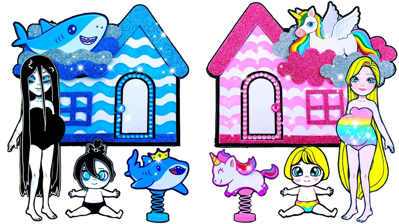 Paper Dolls Dress Up - Decorate Twin Room Baby Shark and Unicorn Dresses - Barbie Story & Crafts