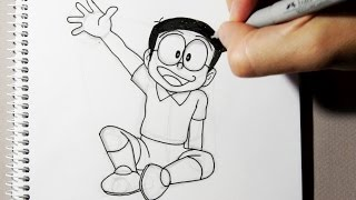 How to draw Nobita from  Doraemon step by step