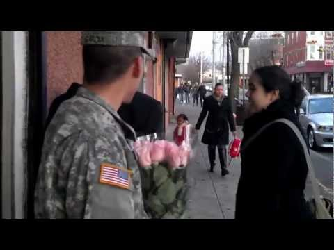 Soldier surprises his mom at work.
