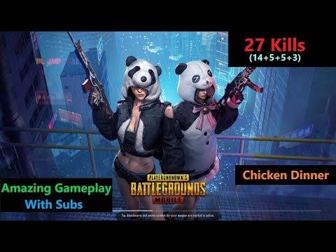 [Hindi] PUBG Mobile   '27 Kills' In Squad Winner Winner Chicken Dinner