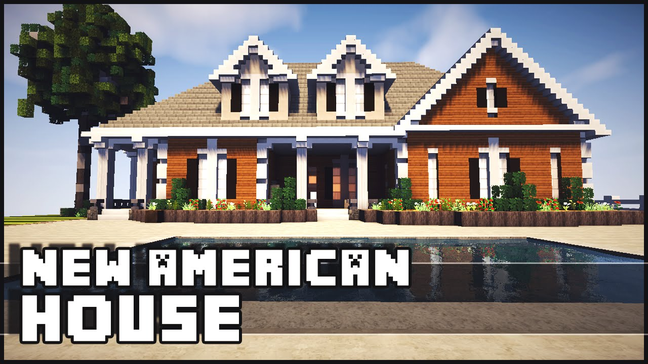 Minecraft american style mansion youtube for New american house style