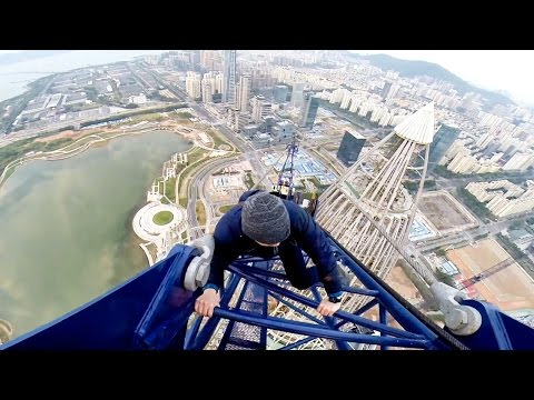 Base Jumping Off A 1300ft Crane In China