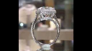 4 carat Cushion Diamond Engagement Ring in Double Edged Halo