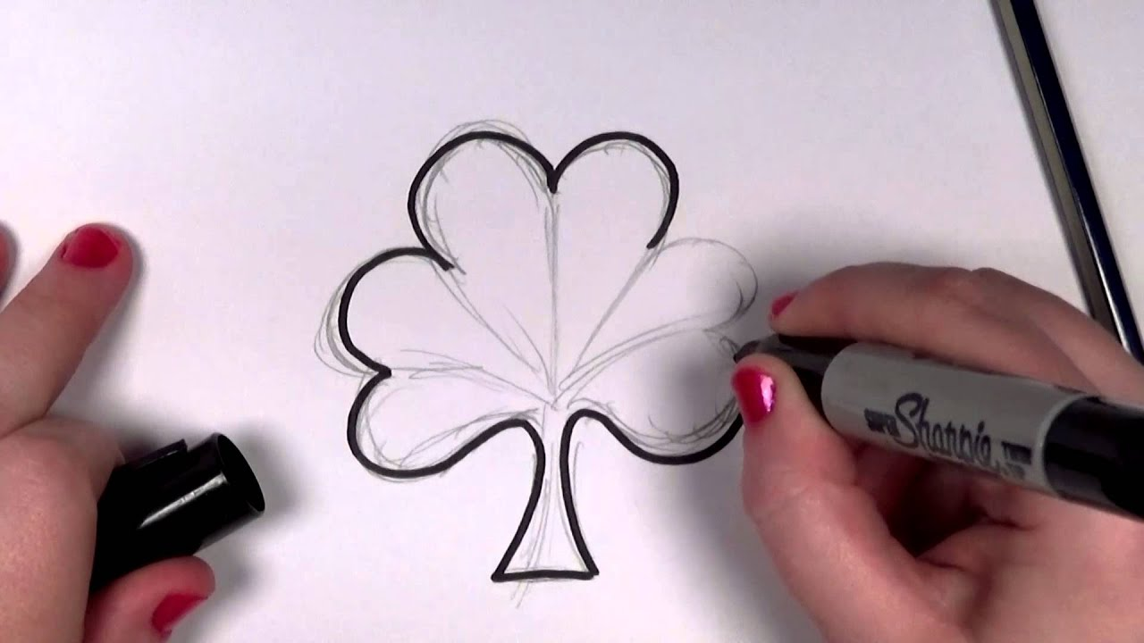 learn how to draw a cute easy shamrock with hearts icanhazdraw