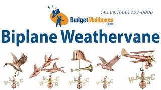 Budgetmailboxes.com | Good Directions 9521p Biplane Weathervane - Polished Copper