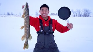 Northern Pike CATCH CLEAN COOK ON THE ICE!